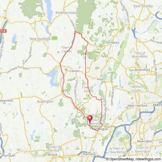 Farmington to Simsbury bicycle ride