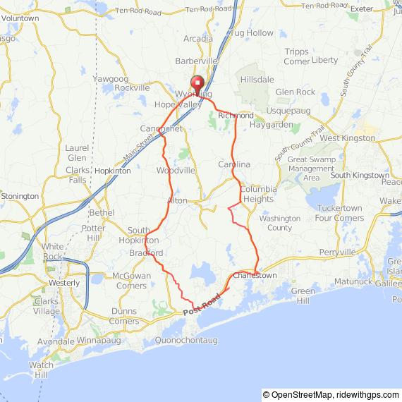Richmond RI to Charlestown bicycle ride