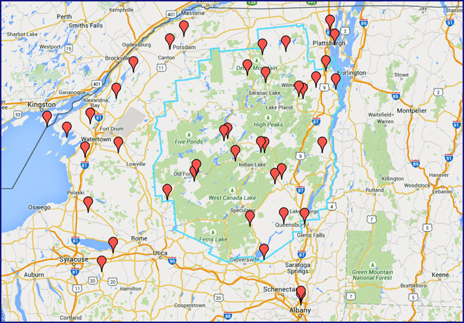 Adirondacks bicycle interactive map