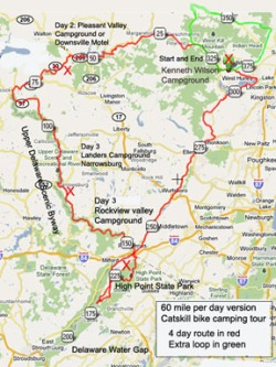 Catskill 60 mile per day cycling tour map