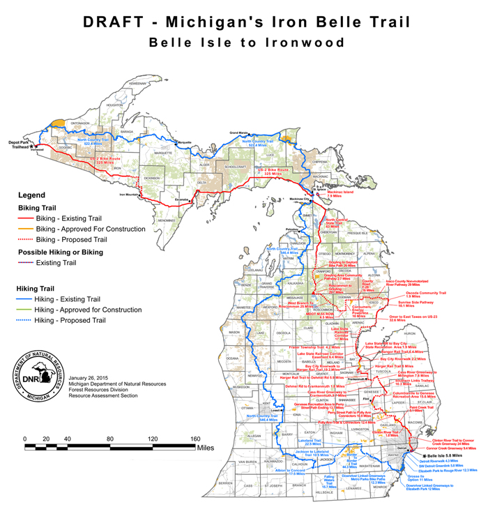 Michigans iron belle trail bike new england tentative full route map for the iron belle trail sciox Image collections