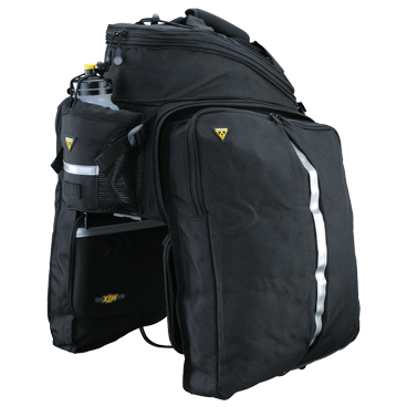 Topeak MTX trunk bag with panniers opened.