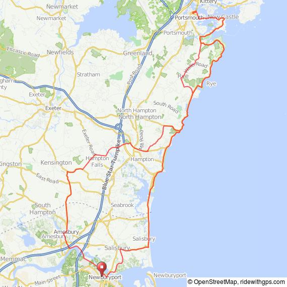 coastal bicycle ride from Newburyport, MA