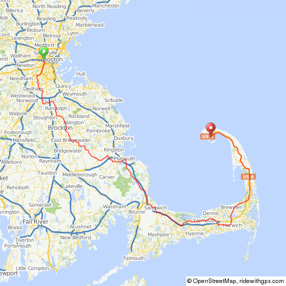 boston and cape cod map Boston To Provincetown Cycling Routes Bike New England boston and cape cod map