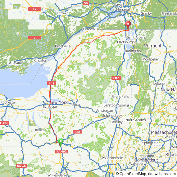 New York Official State Bicycle Routes Bike New England - Road map of new york state