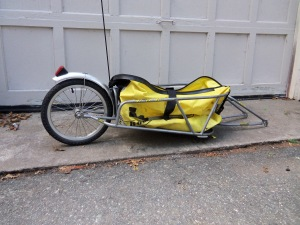 Bob Yak trailer with dry bag and quick release,  $175