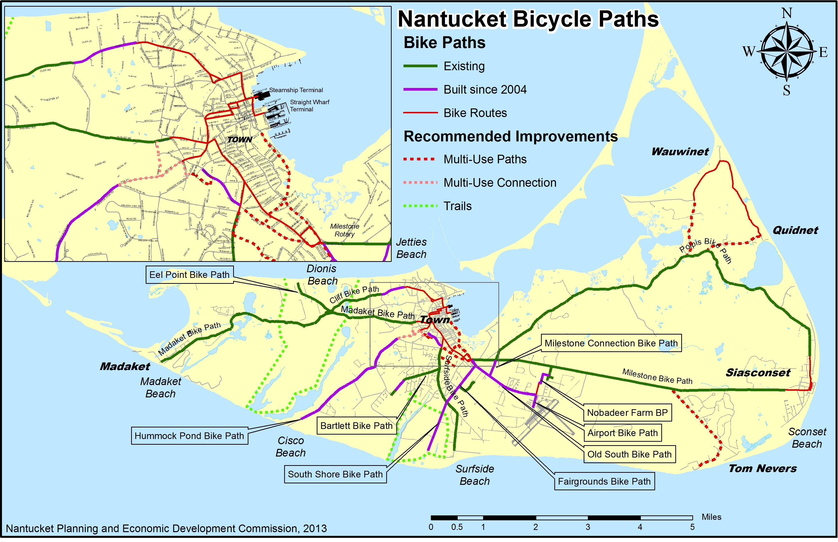 Nantucket Bike Rides Bike New England - Us 36 bike path map